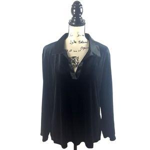 Chicos 3 Shirt XL Black Velvet V-Neck